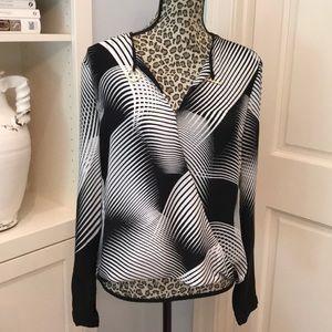 100% Silk Black and White Geometric Striped Blouse